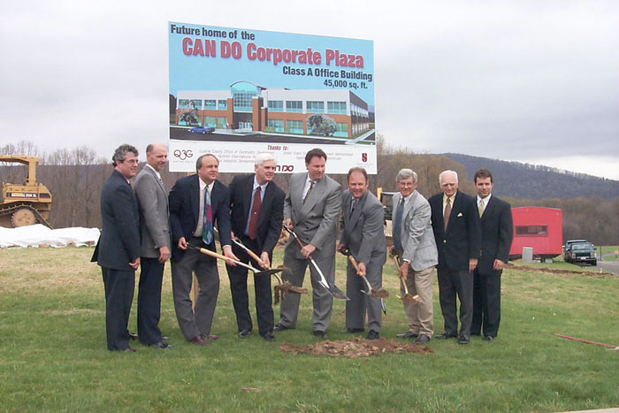 Groundbreaking for the Corporate Center's first office building, then occupied by Convergys.