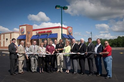 Local officials and guests cut the ribbon on Humboldt Station's first restaurant, Burger King, in Hazle Township Tuesday, June 8, 2010.